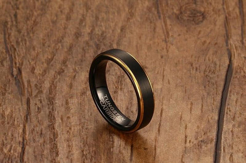 Wedding rings for him - 5mm Black and gold Tungsten mens ring