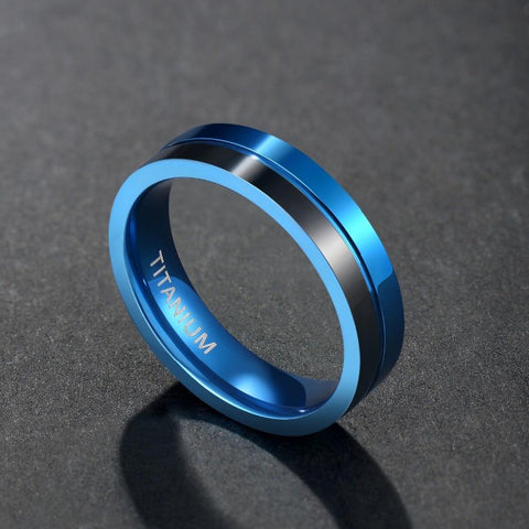 Mens promise rings - black and blue titanium mens rings with custom engraving