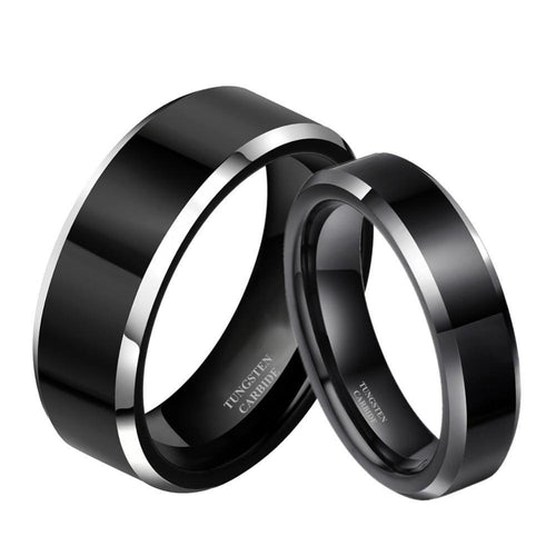 Promise Rings - 6mm & 8mm Black & Silver Edges Tungsten Couples Rings (Set/2Pc)