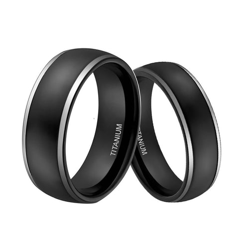 Promise Rings - 6mm & 8mm Domed Black & Silver Edges Titanium Couple Rings (Set/2Pc)