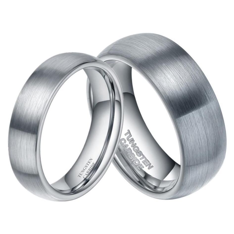 Promise Rings - 6mm & 8mm Domed Brushed Silver Tungsten Couples Rings (Set/2Pc)