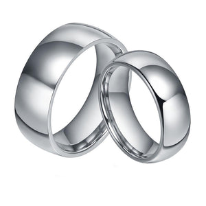 Promise Rings - 6mm & 8mm Domed Silver Titanium Couples Rings (Set/2Pc)
