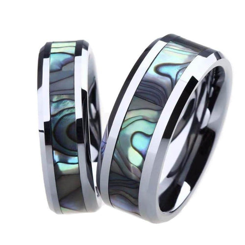 Promise Rings - 6mm & 8mm Luxury Abalone Shell Couples Rings (Set/2Pc)
