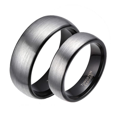 Promise Rings - 6mm & 8mm Matte Brushed Silver & Black Couples Rings (Set/2Pc)