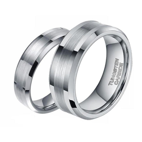 Promise Rings - 6mm & 8mm Silver Tungsten Couples Rings (Set/2pc)