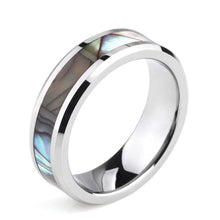 Promise Rings - 6mm Abalone Shell Inlay Titanium Unisex Ring