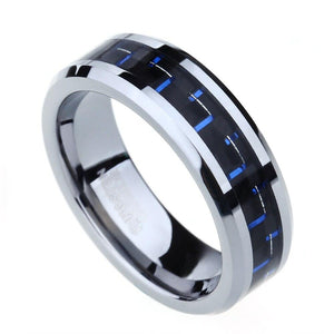 Promise Rings - 6mm Black & Blue Carbon Fiber Inlay Tungsten Unisex Ring