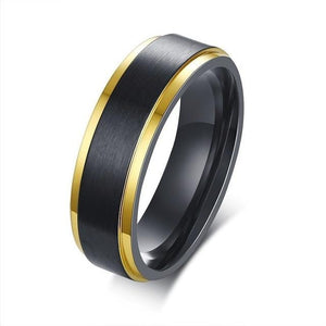 Promise Rings - 6mm Black & Golden Edges Stainless Steel Unisex Ring