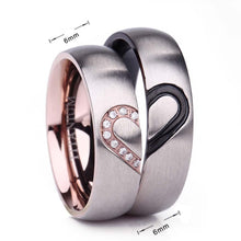 Promise Rings - 6mm Black & Rose Gold Heart With Cubic Zirconias Titanium Couples Rings