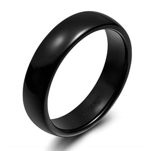 Promise Rings - 6mm Black Smooth Ceramic Unisex Ring (Allergy Free)