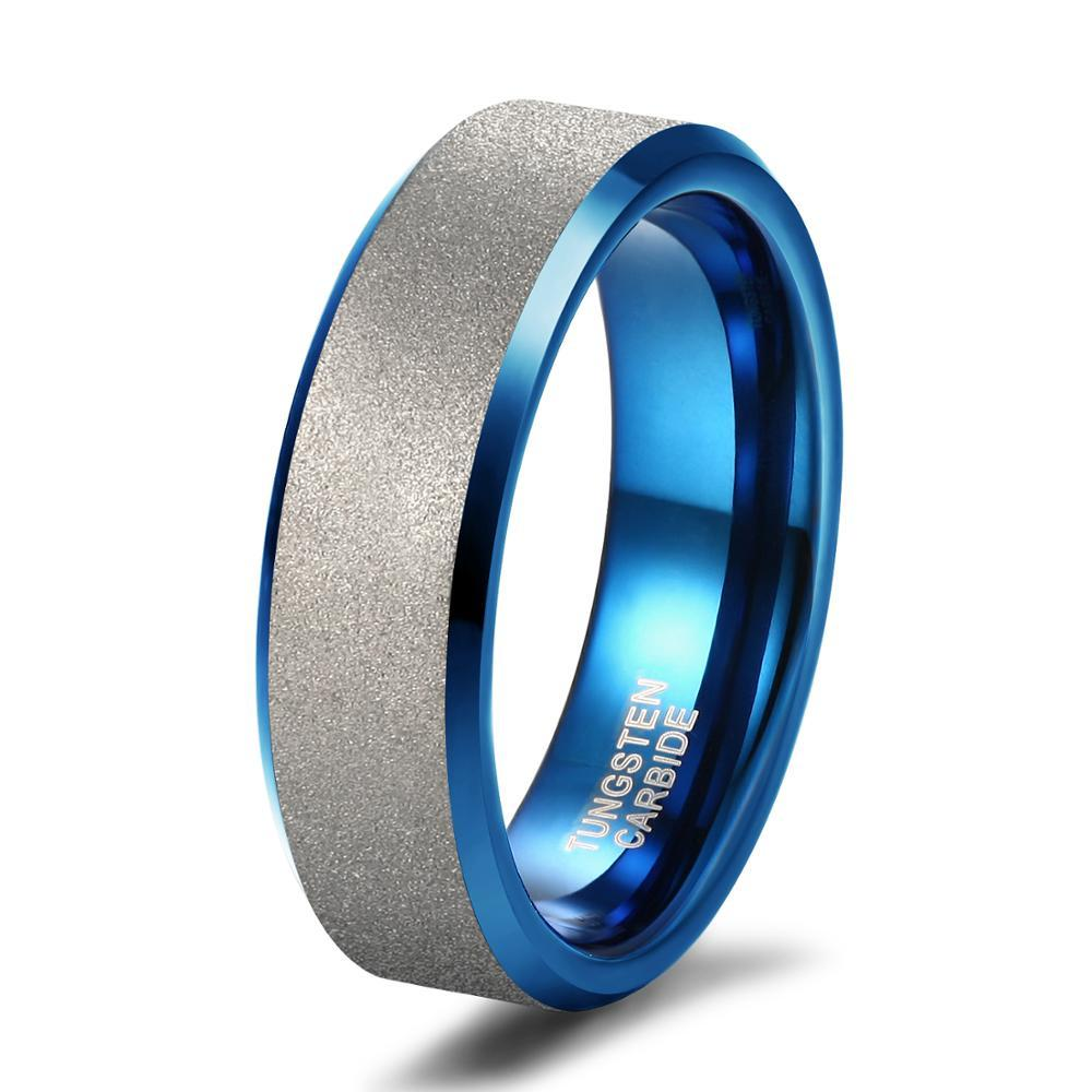 Promise Rings - 6mm Blue and Silver Matte Brushed Tungsten Mens Ring - 1 Custom Engraving (optional)