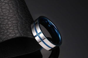 Promise Rings - 6mm Blue Cross Concave Tungsten Mens Ring - 1 Engraving