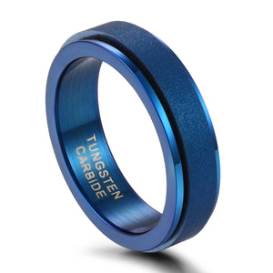Promise Rings - 6mm Blue Rotatable Unisex Spinner Ring (Anxiety Relief)