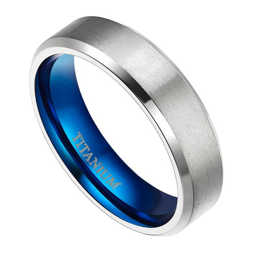 Promise Rings - 6mm Blue & Silver Titanium Mens Ring