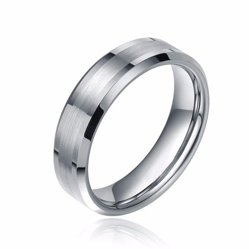 Promise Rings - 6mm Brushed Beveled Edges Silver Tungsten Unisex Ring