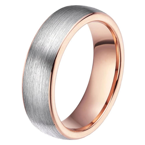 Promise Rings - 6mm Brushed Silver & Rose Gold Tungsten Womens Ring