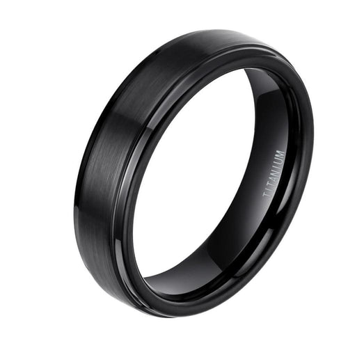 Promise Rings - 6mm Brushed Titanium Mens Ring (2 Colors) - 1 Engraving