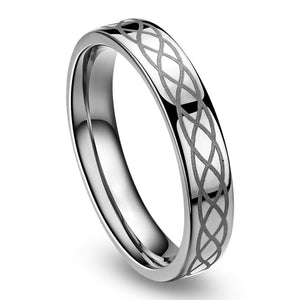 Promise Rings - 6mm Celtic Irish Silver Titanium Unisex Ring