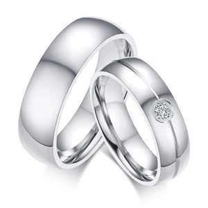 Promise Rings - 6mm Classic Stainless Steel Cubic Zirconia Couples Rings