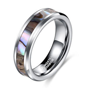 Promise Rings - 6mm Abalone Tungsten Silver Unisex Ring