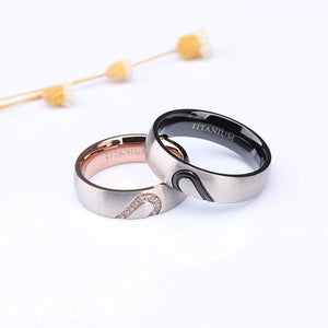 Promise Rings - 6mm Dome Heart Shape Titanium Couples Rings