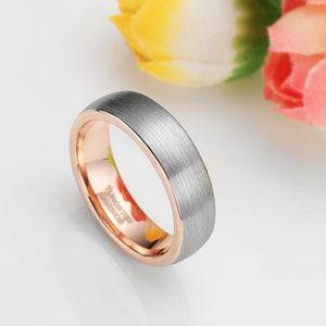 Promise Rings - 6mm Domed Brushed Rose Gold & Silver Tungsten Unisex Ring