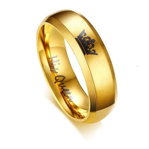 Promise Rings - 6mm Her King & His Queen Crown Stainless Steel Rings (2 colors)