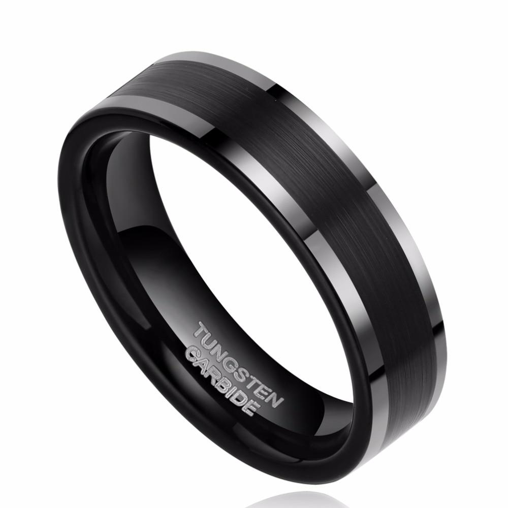 Promise Rings - 6mm High Polished Edges Black Tungsten Unisex Ring