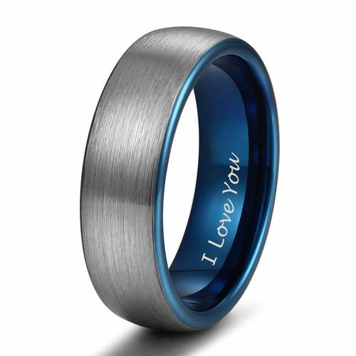 Promise Rings - 6mm I Love You Engraved Blue Silver Tungsten Mens Ring