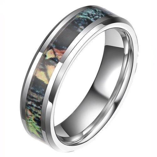Promise Rings - 6mm or 8mm Camouflage Forest Scenery Unisex Rings