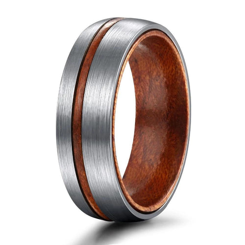 Promise Rings - 6mm or 8mm Vintage Wooden Groove Inlay Silver Titanium Mens Ring