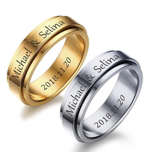 Promise Rings - 6mm Personalized Custom Engraving Unisex Spinner Ring