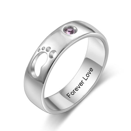 Promise Rings - 6mm Personalized Hollow Cute Baby Foot Ring - 1 Birthstone & Engraving