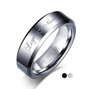 Promise Rings - 6mm Personalized Polished Silver Tungsten Unisex Ring (2 colors) - 1 Top Engraving