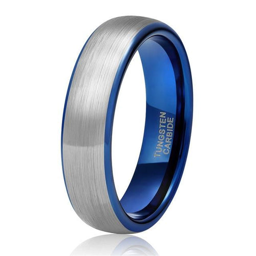 Promise Rings - 6mm  Personalized Silver Blue Tungsten Mens Ring - 1 Custom Engraving (optional)