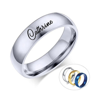 Promise Rings - 6mm Personalized Stainless Steel Unisex Rings