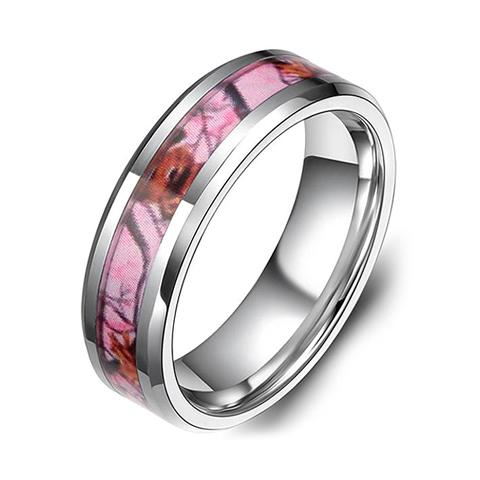 Promise Rings - 6mm Pink Camo Women's Tungsten Ring