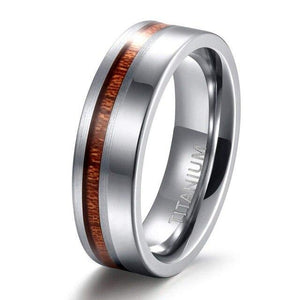 Promise Rings - 6mm Polished & Matte Nature Wood Inlay Silver Mens Ring