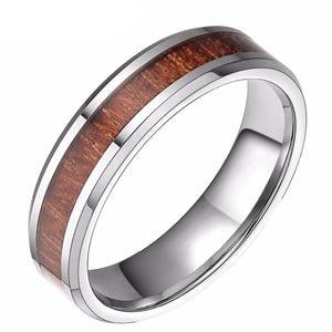 Promise Rings - 6mm Red Wood Inlay Silver Tungsten Mens Rings