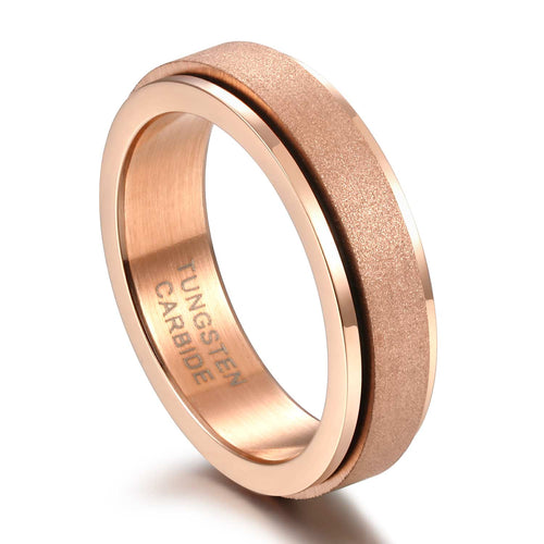Promise Rings - 6mm Rose Gold Rotatable Unisex Spinner Ring (Anxiety Relief)