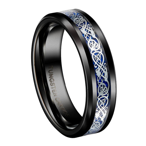Promise Rings - 6mm Silver and Blue Celtic Dragon Tungsten Mens Ring