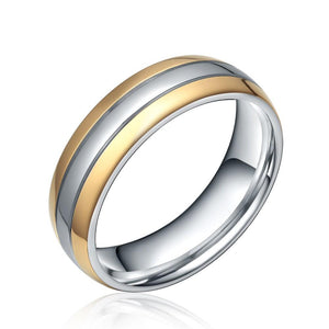 Promise Rings - 6mm Silver & Gold Color Two Tone Titanium Mens Ring