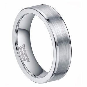 Promise Rings - 6mm Silver Tungsten Unisex Ring