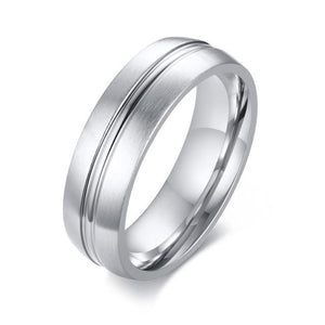 Promise Rings - 6mm Thin Centre Line Stainless Steel Mens Ring (2 Colors)