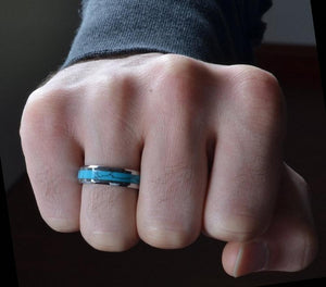 Promise Rings - 6mm Turquoise Inlay & Silver Tungsten Unisex Ring
