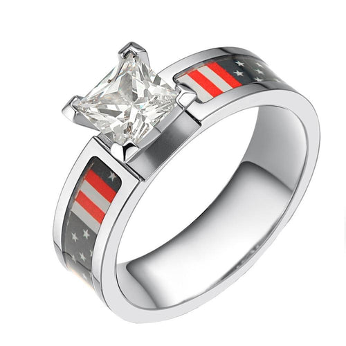 Promise Rings - 6mm USA American Flag Patriotic Cubic Zirconia Titanium Womens Ring