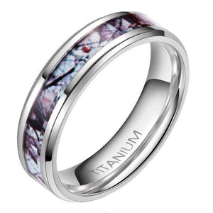 Promise Rings - 6mm Winter Branch Inlay Titanium Camo Silver Unisex Ring