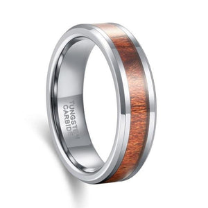 Promise Rings - 6mm Wood Inlay Tungsten Silver Mens Ring