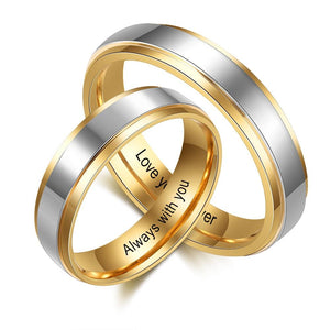 Promise Rings - 6mm & 4mm Personalized Gold & Silver Couples Rings