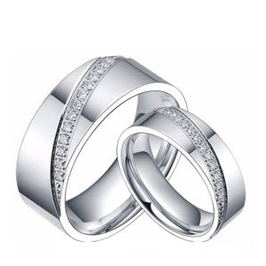 Promise Rings - 6mm/8mm Cubic Zirconias Inlay Titanium Couples Rings